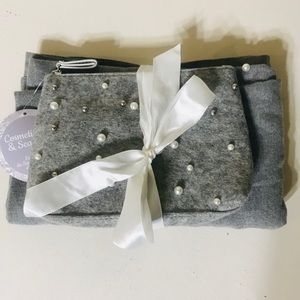 Gray Scarf/Pashminas & Make up bag with Pearls